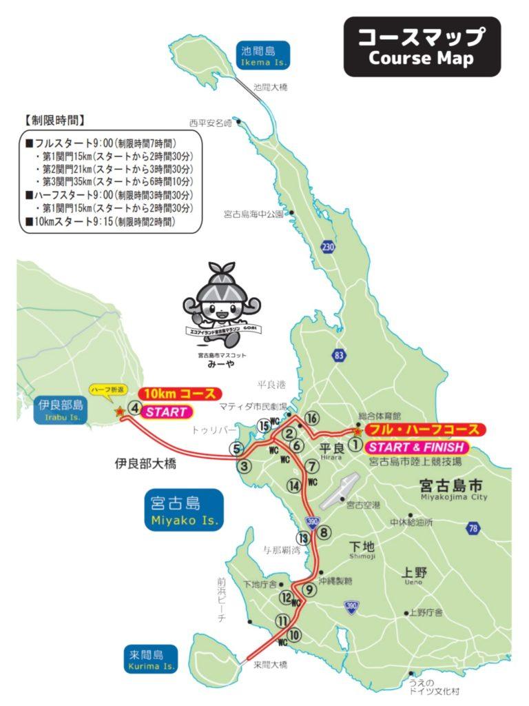 宮古島マラソン(フル、ハーフ、10km)コースマップ